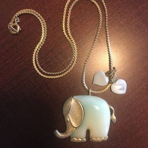 Gold and Ivory Elephant Heart Necklace